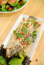 Salad With Deep Fried Fish Stock Photography - 21563842