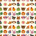 Cartoon Animal Face Pattern Seamless Stock Images - 21577134