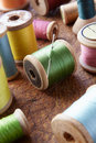 Cotton Reels On Table Top Stock Photography - 21591162