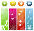 The Four Seasons Icons & Banners Stock Images - 21596514