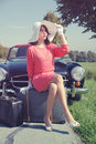 Car Journey Of The Beautiful Women, Fifties Style Royalty Free Stock Photos - 21598018