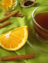 Black Tea With Oranges And Cinnamon Stock Images - 21621674