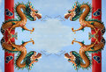 Twin Golden Chinese Dragon Stock Image - 21647001