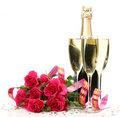 Champagne And Bouquet Of Roses Royalty Free Stock Image - 21669656