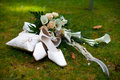 Wedding Shoes Rings And Bouquet Stock Photography - 21703982