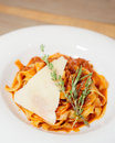 Pasta With Tomato, Parmesan, Thyme Royalty Free Stock Photography - 21709317