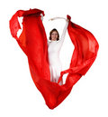 Young Woman In White Dress With Red Fabric Stock Photos - 21722373