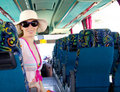 Girl On Tourist Bus Happy With Sunglasses Royalty Free Stock Photography - 21738877