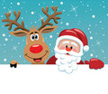 Santa Claus And Rudolph Deer Royalty Free Stock Photography - 21742017