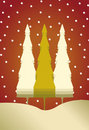 Christmas Card With 3 Trees And Snow Royalty Free Stock Images - 21744889