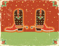 Cowboy Christmas Card With Boots Royalty Free Stock Image - 21774316