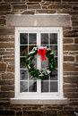 Christmas Wreath On Old Window Pane Royalty Free Stock Photos - 21804828