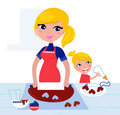 Cute Child Helping Her Mother With Baking Stock Photo - 21899210