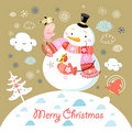 Greeting Card With A Cheerful Snowman Royalty Free Stock Photography - 21901487