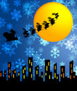 Santa Sleigh And Reindeers Flying Over The City Stock Image - 21904491