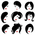 Big Set Of Black Hair Styling For Woman Royalty Free Stock Images - 21911639