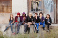 Serious Looking Group Of Young Punk Teens Royalty Free Stock Photos - 21927728