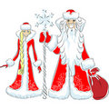 Vector Happy Father Frost And Snow Maiden Stock Images - 21934634