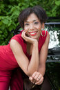 Hispanic Woman In Red Dress Stock Photography - 21945302