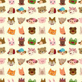 Cartoon Animal Face Seamless Pattern Royalty Free Stock Images - 21965449