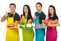 Successful Market Workers Gives Thumbs Stock Image - 21966501