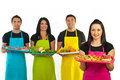 Confectioner Woman And Market Workers Team Royalty Free Stock Photos - 21966508