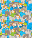 Funny Vector Seamless Office Pattern Royalty Free Stock Image - 21979836
