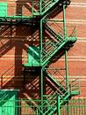 Red Wall, Green Stairs Royalty Free Stock Image - 224546