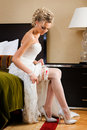 Beautiful Bride Is Trying The Garter. Royalty Free Stock Photo - 22003115