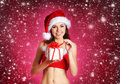 Young Sexy Female Santa With A Present Royalty Free Stock Images - 22018979