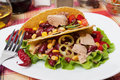 Chili Bean And Tuna Salad In Taco Shells Stock Images - 22025764