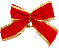 Christmas Bow With A Golden Bell Stock Image - 22031331
