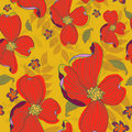Seamless Red Flowers Pattern Royalty Free Stock Image - 22031446