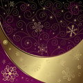 Christmas Purple-gold Frame Royalty Free Stock Photography - 22038347