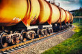 Train With Fuel Petrol Tanks On The Railway Stock Image - 22075701