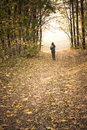 Autumn: Girl On The Road In The Park, Forest. Royalty Free Stock Image - 22078496