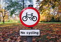 No Cycling Sign Royalty Free Stock Photography - 22222507