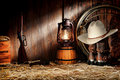 American West Rodeo Old Ranching Tools In A Barn Stock Image - 22239041