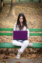 Portrait Of A Beautiful Girl Using Laptop Royalty Free Stock Image - 22244646
