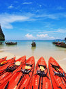 Red Modern Canoes And Boats Longtail On A Beach Stock Images - 22258374