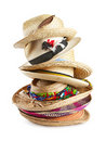 Variety Of Straw Hats Stacked Vertically Stock Photo - 22265330