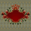 Vintage Floral Frame With Red Roses Stock Photography - 22265712
