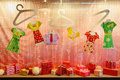Pink Storefront With Gifts And Paper Clothing Royalty Free Stock Photography - 22287807