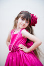 Pretty Little Girl In Beautiful Pink Dress Royalty Free Stock Photo - 22291895