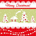 Cartoon Christmas Card With Xmas Tree, Balls, Hous Stock Images - 22309064