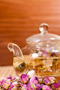 Pink Rose Tea In A Glass Teapot Close Up Royalty Free Stock Images - 22309299