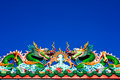 Chinese Art With Roof Of A Dragon. Stock Images - 22317284