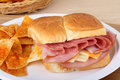 Lunch Meat And Cheese Sandwich Royalty Free Stock Photography - 22398527