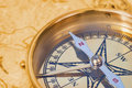 Compass On Old Map Stock Image - 22402261