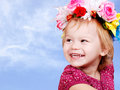 Little Baby Girl In Flower Crown Stock Photography - 22417412